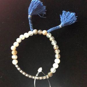Banana Republic silver  beaded bracelet w/tassel